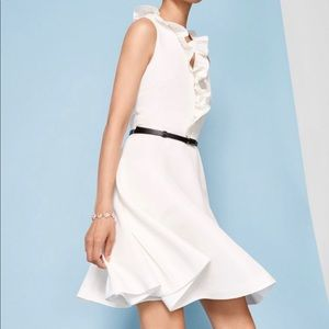 Ted Baker QWINN Pleated neck tie dress with Ivory